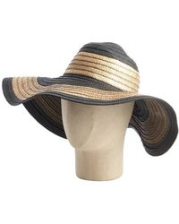 Ivanka Trump - Black And Gold Metallic Colorblock Straw Floppy Sun Hat - Lyst