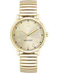 Nine West Ladies Goldtone Adjustable Bracelet Watch - Metallic