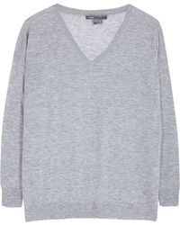 Vince Grey V-Neck Jumper - Lyst