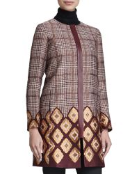 Lafayette 148 New York Aristocratic Long Houndstooth Coat - Lyst