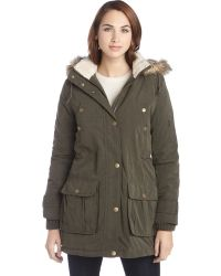 DKNY Military Green Faux Fur Hood Reese Anorak Coat - Lyst