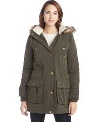 DKNY Military Green Faux Fur Hood Reese Anorak Coat - Lyst