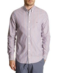Tommy Hilfiger Blue And Red Striped Button-Down Shirt - Lyst