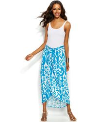 Inc International Concepts Printed Sarong Maxi Skirt - Lyst