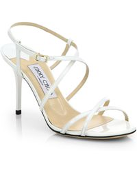 Jimmy Choo Elaine Strappy Patent Leather Sandals - Lyst