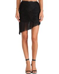 Haute Hippie Trapped Rayon Fringe Skirt with Leather - Lyst