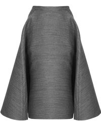 Topshop Womens Full Aline Midi Skirt by Unique  Grey - Lyst