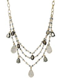 Inc International Concepts Inc International Concept Gold-Tone Crystal Charm And Bead Three-Row Necklace - Lyst