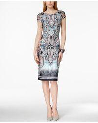 Eci - Cap-sleeve Printed Sheath Dress - Lyst