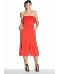 Milly Stretch Silk Crepe Athena Jumpsuit red - Lyst