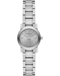 Burberry Ladies Round Stainless Steel Bracelet Watch With Diamonds - Lyst