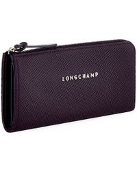 Longchamp Quadri Ziparound Wallet - Purple