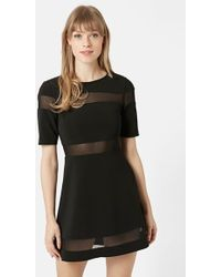 Topshop Sheer Stripe Skater Dress - Lyst