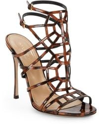 Sergio Rossi Patent Leather Puzzle Sandals - Lyst
