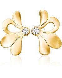 AIMEE AIMER White Diamond Petale Earrings - Metallic