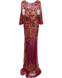 Marchesa Embroidered Wrap Gown - Lyst