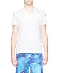 Orlebar Brown 'Felix' Mélange Cotton Piqué Polo Shirt white - Lyst