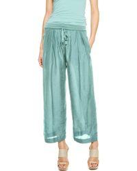 Donna Karan New York Wide Leg Drawstring Pant With Jersey Waistband - Lyst