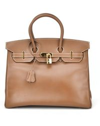 Hermes Authentic Pre-owned Brown Coucherel Leather Birkin 35cm Phw - Lyst