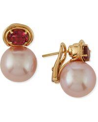 Belpearl - Aura Kasumiga Pearl & Pink Tourmaline Earrings - Lyst
