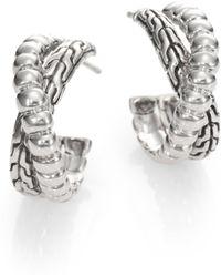 John Hardy Sterling Silver Textured Twist Hoop Earrings1 - Lyst