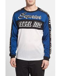 Diesel Gregor Long-Sleeved Mesh and Jersey Moto T-Shirt - Lyst