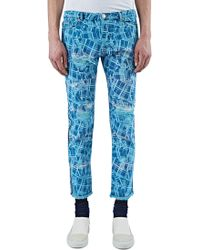 James Long - Men's Slim Cracked Print Jeans In Blue - Lyst