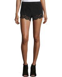 Lamarque Anjanette Laser-Cut Suede Shorts - Black