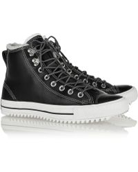 Converse Chuck Taylor All Star City Hiker Shearling-lined Leather High-top Sneakers - Lyst