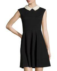 Betsey Johnson Beaded-Collar Sleeveless Fit-And-Flare Dress black - Lyst