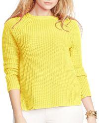 Ralph Lauren Lauren Plus Ribbed Cotton Sweater - Yellow