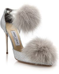 Jimmy Choo | Dolly 100 Fox Fur & Glittered Textile Ankle-strap Pumps | Lyst