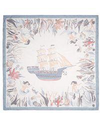 Valentino Sailing Ship Silk Chiffon Scarf multicolor - Lyst