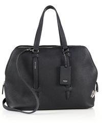 Agnona Cara Grained Leather Satchel - Black