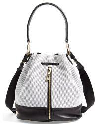 Elizabeth And James 'Cynnie' Perforated Leather Bucket Bag - Lyst