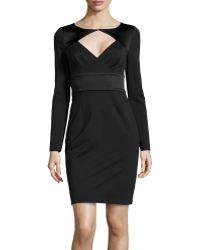 Halston Longsleeve Opendiamond Stretchknit Dress - Lyst