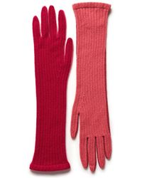 Armand Diradourian Two Tone Knit Cashmere Gloves - Pink