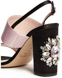 Kate Spade 'Ilsa Too' Jewel Heel Colourblock Satin Sandals black - Lyst