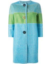 Ermanno Scervino Colour Block Coat blue - Lyst
