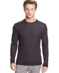 Calvin Klein Faux-leather Overlay Crew-neck Sweater - Lyst