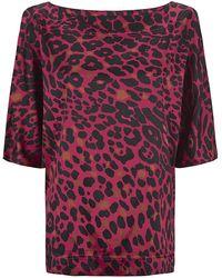 St. John Leopard Print Silk Top - Lyst