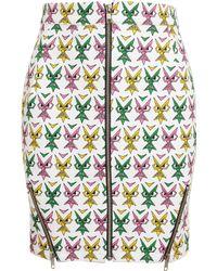 Jeremy Scott Face Printed Stretch-cotton Miniskirt - Lyst