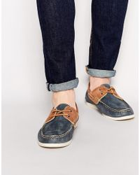 ASOS - Boat Shoes In Washed Leather - Lyst