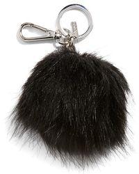 Halogen Faux Fur Pom Bag Charm - Black