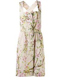 Dolce & Gabbana Floral Print Square Dress - Lyst
