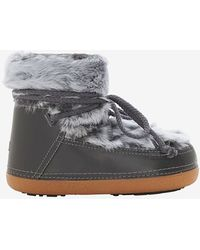 Ikkii Leather And Fur Moon Bootie - Lyst