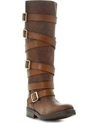 Steve Madden Bryannt Buckle Knee High Boots Tan-leather - Lyst