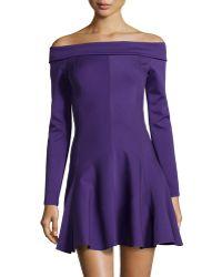 Halston Heritage Long-Sleeve Off-The-Shoulder Ponte Dress - Lyst