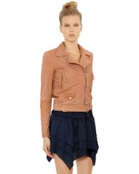 Designers Remix Aida Soft Washed Leather Biker Jacket - Brown
