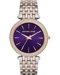 Michael Kors Mid-Size Rose Golden Stainless Steel Darci Three-Hand Glitz Watch - Lyst